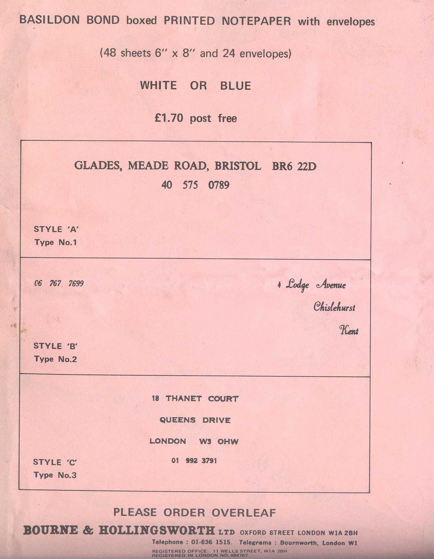 Basildon Bond Writing Paper